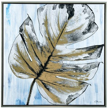 Tableau nature feuille monstera fond bleu cadre argent