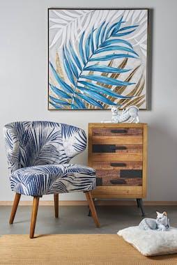 Tableau nature feuilles bleu or blanc, cadre doré 90x90