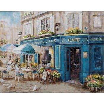 Tableau PAYSAGE Terrasse de Café devanture bleue multicouleur 70x90cm
