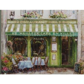 Tableau PAYSAGE Terrasse de Café devanture verte multicouleur 70x90cm