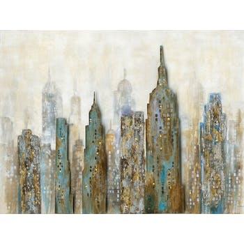 Tableau Paysage urbain 90x120 Argenté Doré. Ajout d'éléments métal en relief avec LED. Peinture acrylique