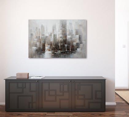 Tableau Paysage urbain abstrait 100x150. Argenté. Ajout d'éléments métal en relief. Peinture acrylique