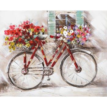 Tableau PAYSAGE Vélo rouge devant la fenêtre tons multicolores 50x40cm