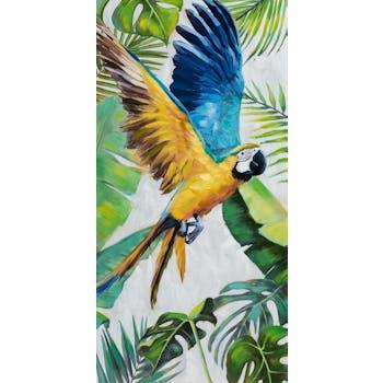 Tableau perroquet tons bleu, vert, jaune 60x120