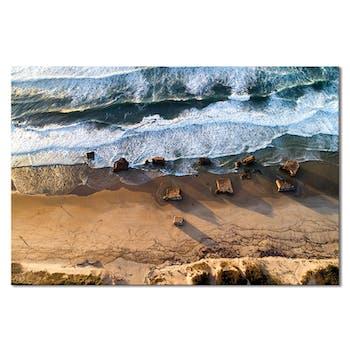 Tableau photo plexiglas blockhaus plage