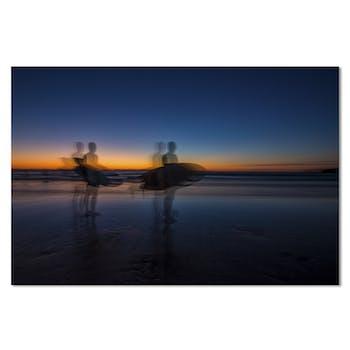 Tableau photo plexiglas surfeurs soleil couchant