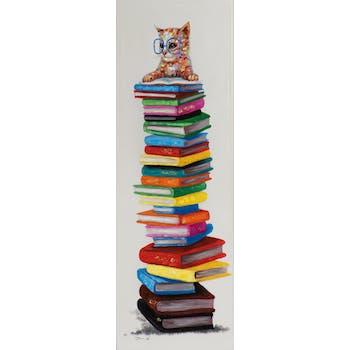 Tableau POP-Art Chat à Lunettes sur pile de Livres multicouleur 40x120cm