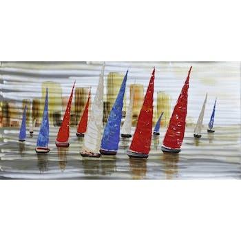 Tableau Régate de voiliers en aluminium 120x60cm - Coloris bleu, blanc et rouge