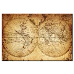 Tableau toile carte du monde vintage
