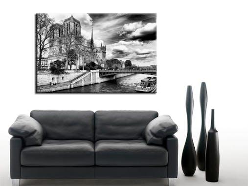 Tableau toile Notre Dame de Paris noir et blanc