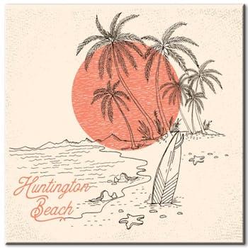 Tableau toile vintage Huntington Beach