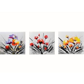 Tableau triptyque fleurs