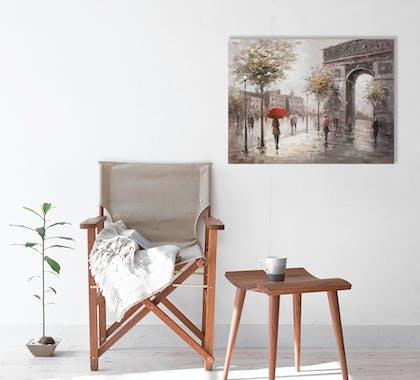 Tableau urbain 60x80 - Paris sous la pluie, peinture acrylique