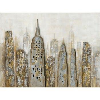 Tableau urbain 90x120 or & argent - buildings en relief, LED intégrées