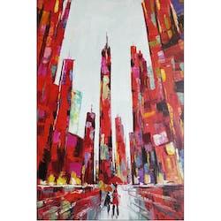 Tableau urbain buildings rouges