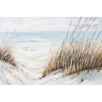 Tableau Vue MARINE Bords de mer et banc de sable tons bleus, beiges, blancs et gris 120x80cm