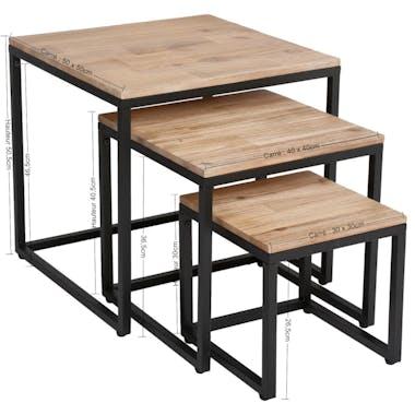 Tables gigognes acacia et métal MEMPHIS (lot de 3)
