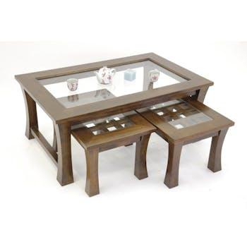 Tables gigognes rectangulaires (lot de 3) hévéa 110x70x45cm MAORI