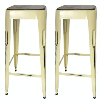 Tabouret bar jaune (lot de 2) LEEDS