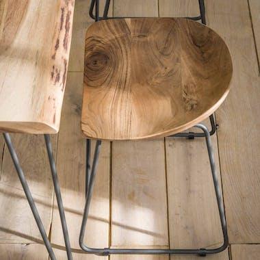 Tabouret bas bois d'acacia (lot de 2) MELBOURNE