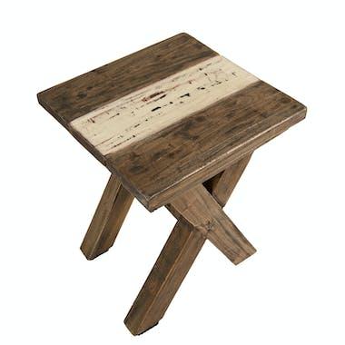 Tabouret bois recyclé pieds croisés JODHPUR