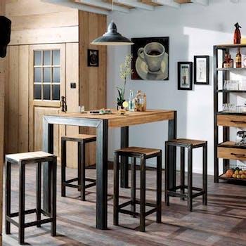 Tabouret haut de bar ferscott en metal et bois style industriel