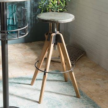 Tabouret haut de bar en bois et assise en zinc vieilli style industriel
