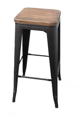 Tabouret haut de bar en metal noir et bois de style industriel
