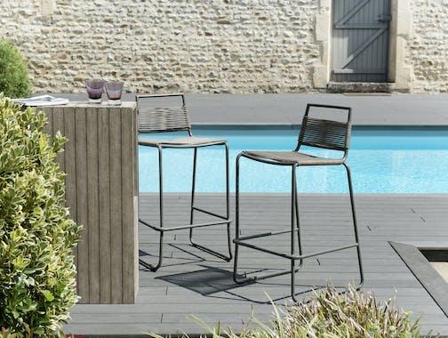 Tabouret de Bar Jardin cordage fibre synthétique acier DETROIT ref. 30020818