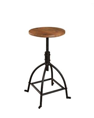 Tabouret de bar reglable en metal et bois style industriel