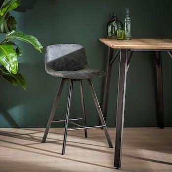 Chaise haute de bar en tissu noir pieds metal de style contemporain