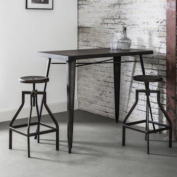 Tabouret reglable de bar en metal gris style industriel
