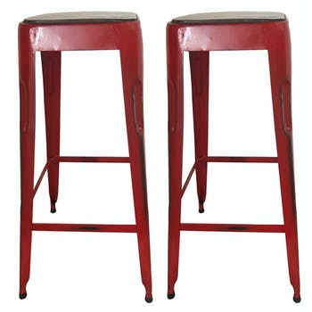 Tabouret de bar rouge (lot de 2) LEEDS