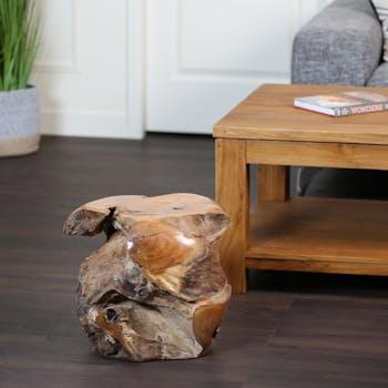 Tabouret en bois de racine de teck