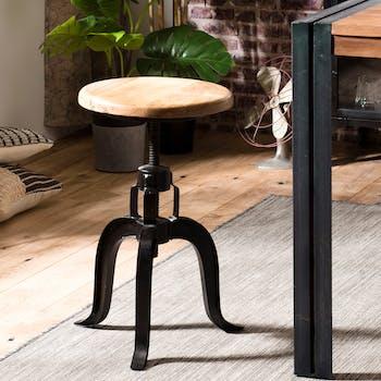 Tabouret de bar rond en bois et metal noir style industriel pied galbe