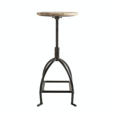 Tabouret haut de bar rond bois et metal noir style industriel