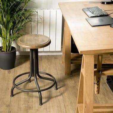Tabouret haut de bar bois et metal avec repose pied style industriel