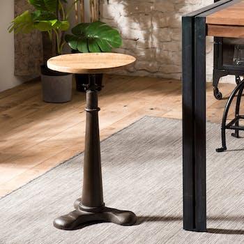 Tabouret de bar rond industriel en bois et metal hauteur ajustable