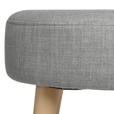 Tabouret scandinave gris tissu bois