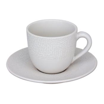 Tasse et sous-tasse grès blanc décor relief petit modèle