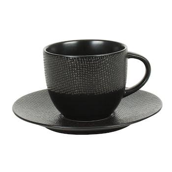 Tasse et sous-tasse grès noir décor relief grand modèle