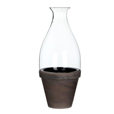 terrarium en verre col étroit évasé sur pot en Terre-cuite marron beige D17xH41cm