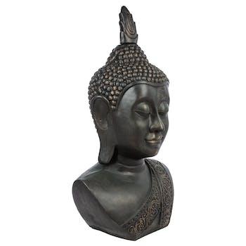 Tête de bouddha en fibre grise patinée 56x45xH113cm