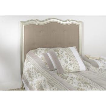 Tête de lit 1 place matelassée argent antique baroque romantique en Acajou MURANO 104x112cm AMADEUS