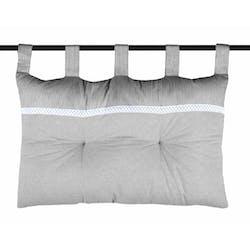 Tête de lit charme couleur gris rayé et blanc avec dentelle 45x70cm 100% coton ANGELE GRIS