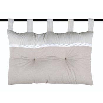 Tête de lit charme couleur lin rayé et blanc avec dentelle 45x70cm 100% coton ANGELE LIN