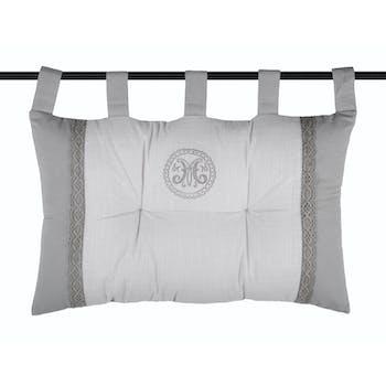 Tête de lit grise avec dentelle et écusson brodé 45x70cm en coton MARIE