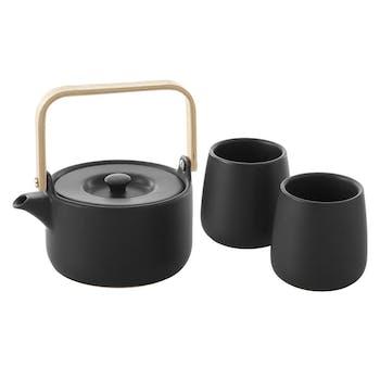 Théière 50cl + 2 mugs 20cl noirs
