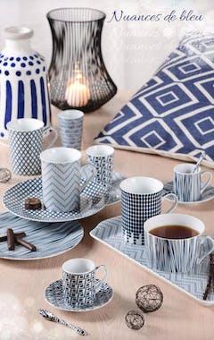 Théière 700ml Indigo motifs tons bleus et filtre inox