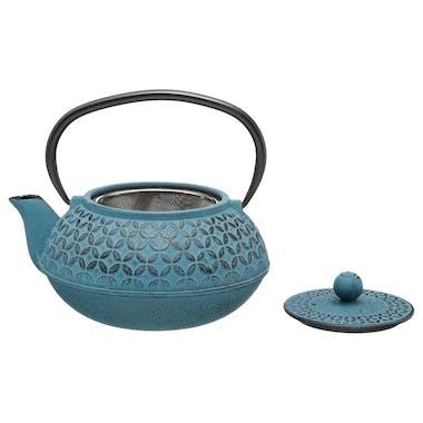 Théière boule 1L en Fonte bleue avec filtre